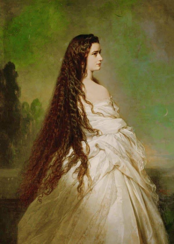 Portrait de Sissi par Franz-Xaver Winterhalter en 1864, dévoilant son ...